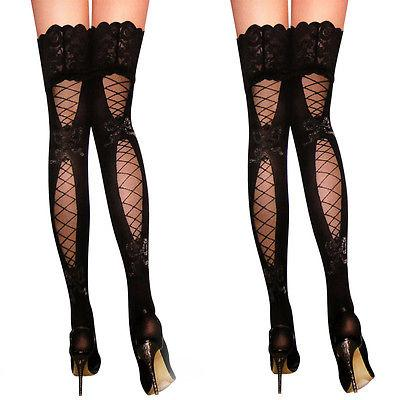 5f4a63a63 2019 Sexy Lady Sheer Lace Top Stay Up Thigh High Hold Ups Fishnet Stockings  Pantyhose 2016 Fashion New Style From Vanilla04