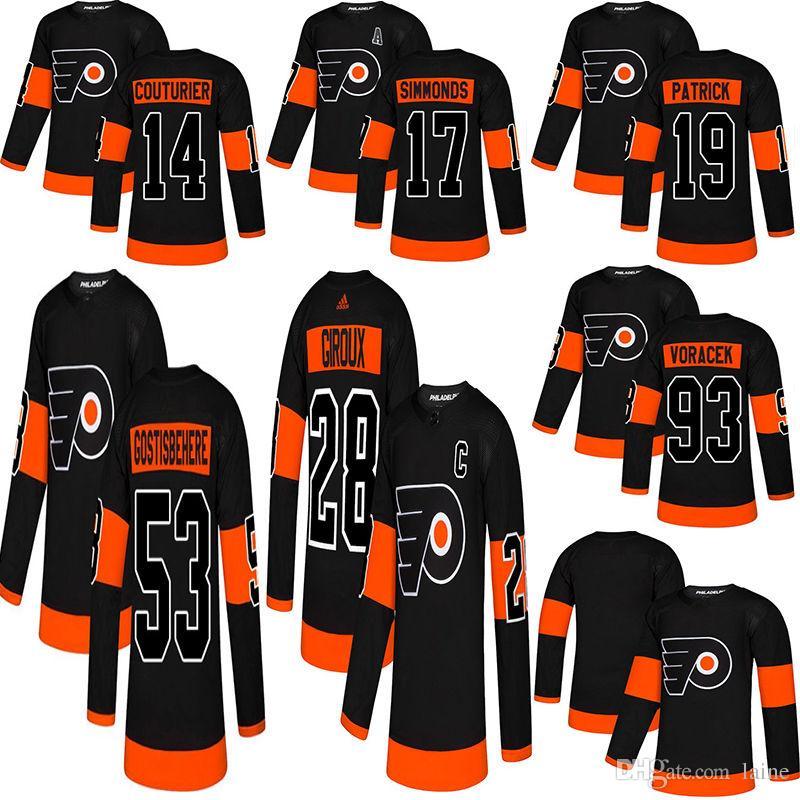 2019 Philadelphia Flyers Hockey 28 Claude Giroux 17 Wayne Simmonds 53  Gostisbehere 93 Voracek 11 Konecny 9 Provorov Ice Hockey Jerseys  Philadelphia Flyers ... b1f28e55c