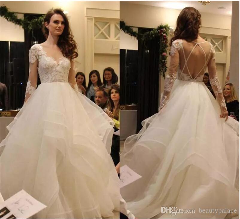 Boho Backless Wedding Dresses Long Sleeves 2018 Cascading Ruffles ...