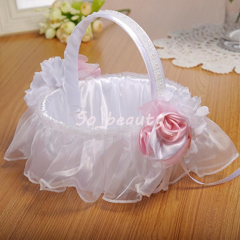 2018 White Wedding Flower Basket With Elegant Satin Round And Pink ...