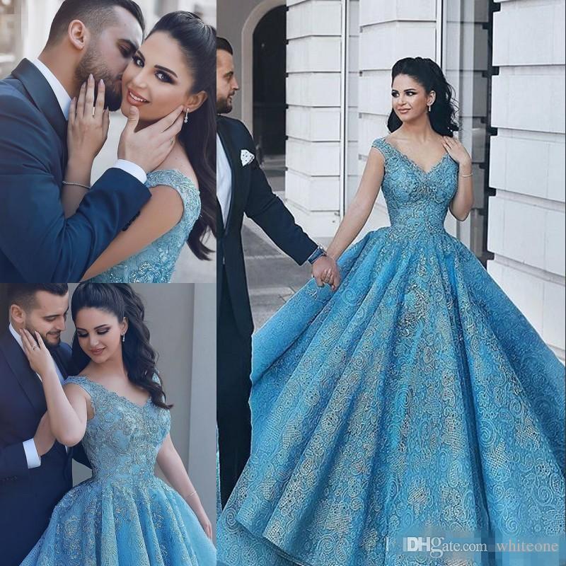 Glamorous Arabia Blue 2018 Ball Gown Prom Dresses V Neck Sequin ...