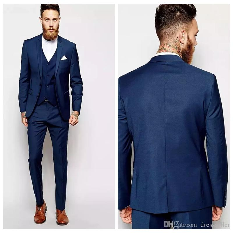 2019 Fashion Formal Groom Tuxedos Groomsmen Slim Suits Fitted Best
