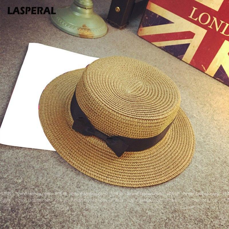 LASPERAL 2018 Classic Bowknot Straw Flat Sun Hat Women Fedora Summer Women  Boater Beach Hat Female Casual Panama Lady Brand Fishing Hat Wide Brim  Fedora ... 34c152a116c8