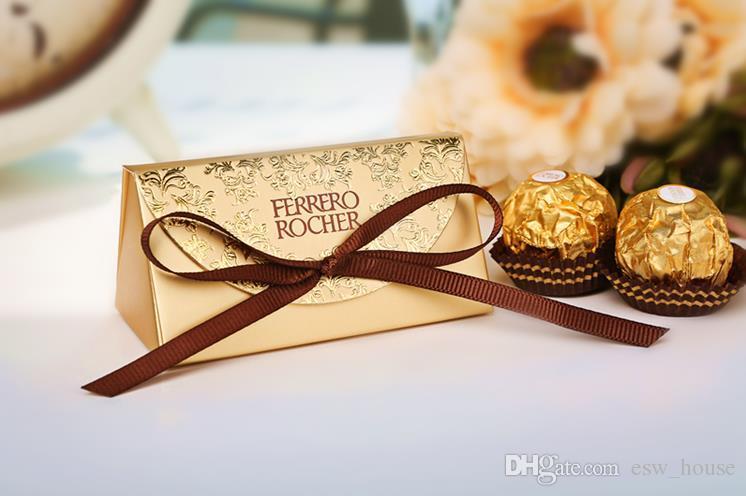Golden Pretty Wedding candy boxes gift box creative sugar bag to wedding classic gift bags Ferrero Rocher boxed
