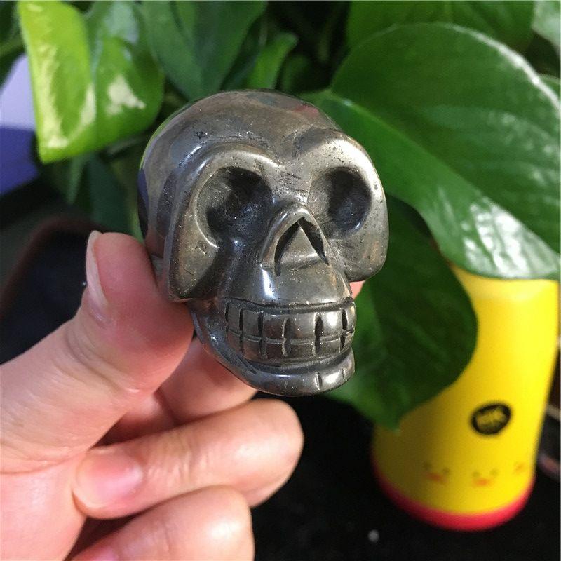Natural Copper Pyrite Handmade Skull Jade Skull Gemstone Carving Crystal Healing Reiki Home Decor Stone Crystal Craft