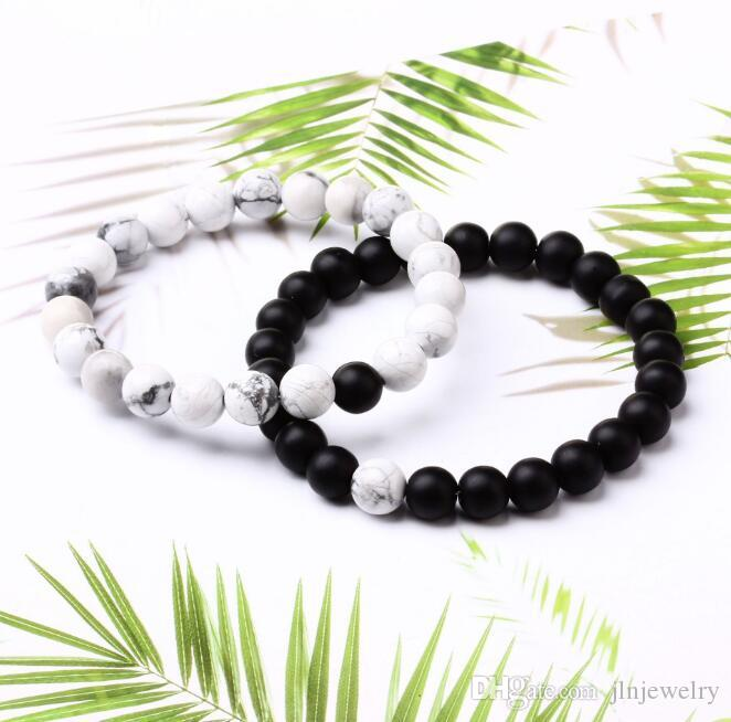 JLN Agate Power Beads Bracelet Matte Onyx White Howlite Natural Stone Stretched Rope Chain Bracelets For Men Women Jewelry
