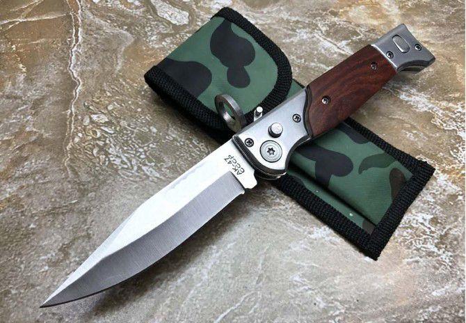 Venta al por mayor AUTOMÁTICO automático mango de madera cuchillo que acampa caza supervivencia cuchillo Cowskin scabbard 1 unids envío gratis