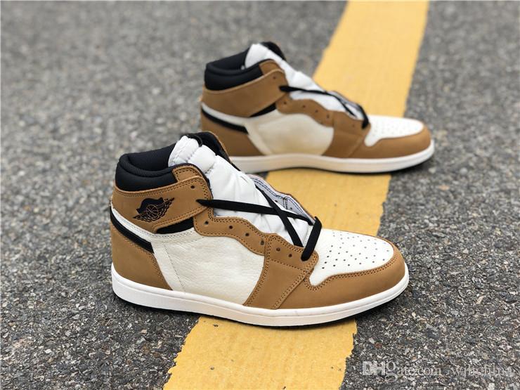 a05e8581e2fcb8 Heißeste Verkauf 1 High OG Rookie des Jahres 1S Gold Ernte Black Sail  Basketball Schuhe für Männer Authentic Leder Sport Turnschuhe Großhandel