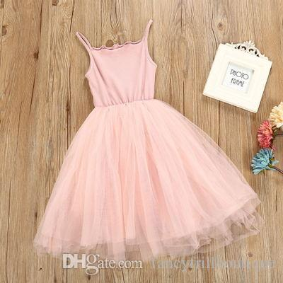 a1864c95f40 2019 New Baby Girls Sling Ball Dresses Knit Cotton Mesh Vest Ballet Tutu  Skirt Summer Girl Party Vestidos From Fancyfrillboutique