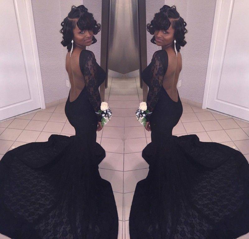 2018 vestidos de baile de la sirena de American American Vestidos De Fiesta mangas largas espalda abierta vestido de noche de encaje vestidos de baile africano del partido