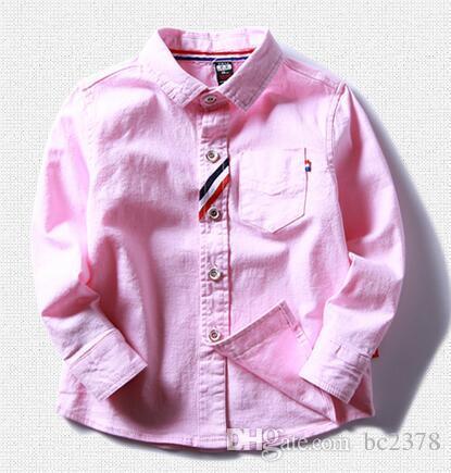 Spring Shool Boy Shirt Smart Ribbon Decoration Turn-down Collar Choice Blue Pink Mix Size