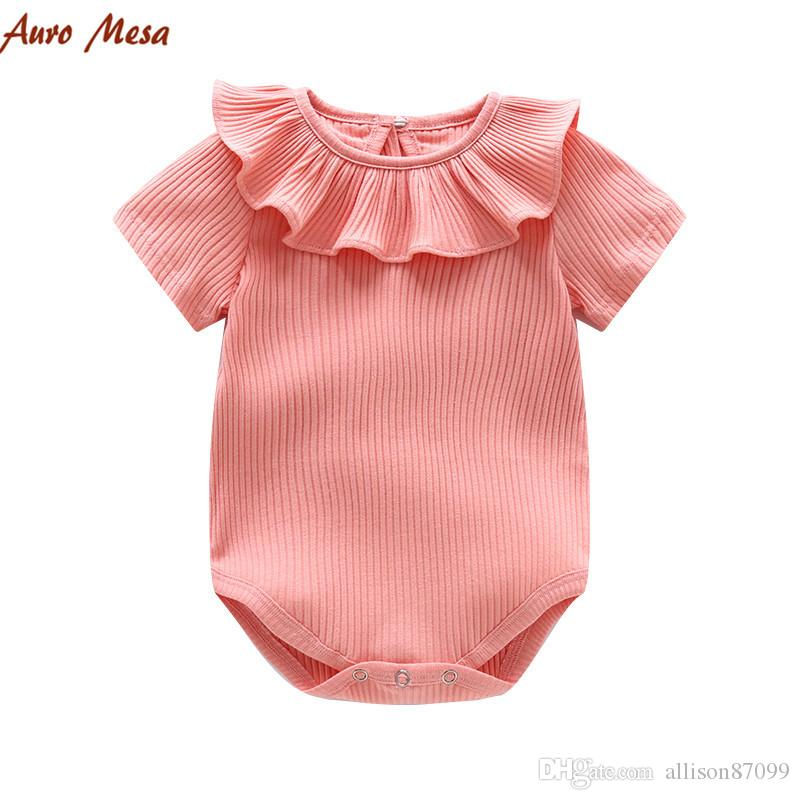 2018 Summer Infants Knit romper Short sleeve Peter pan collar Ruffles Rib Bodysuit for baby girl Boutique clothing