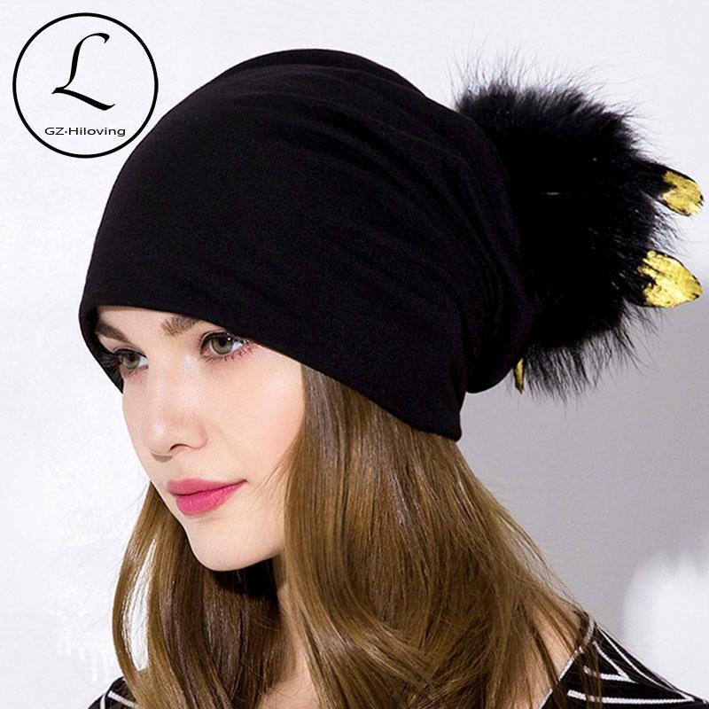 e4d536142 GZHILOVINGL Women s Slouchy Beanie Hat With Feather Fur Pom Pom Hat Cotton  Solid Skullies Beanies Women Ladies Girls Winter Hats