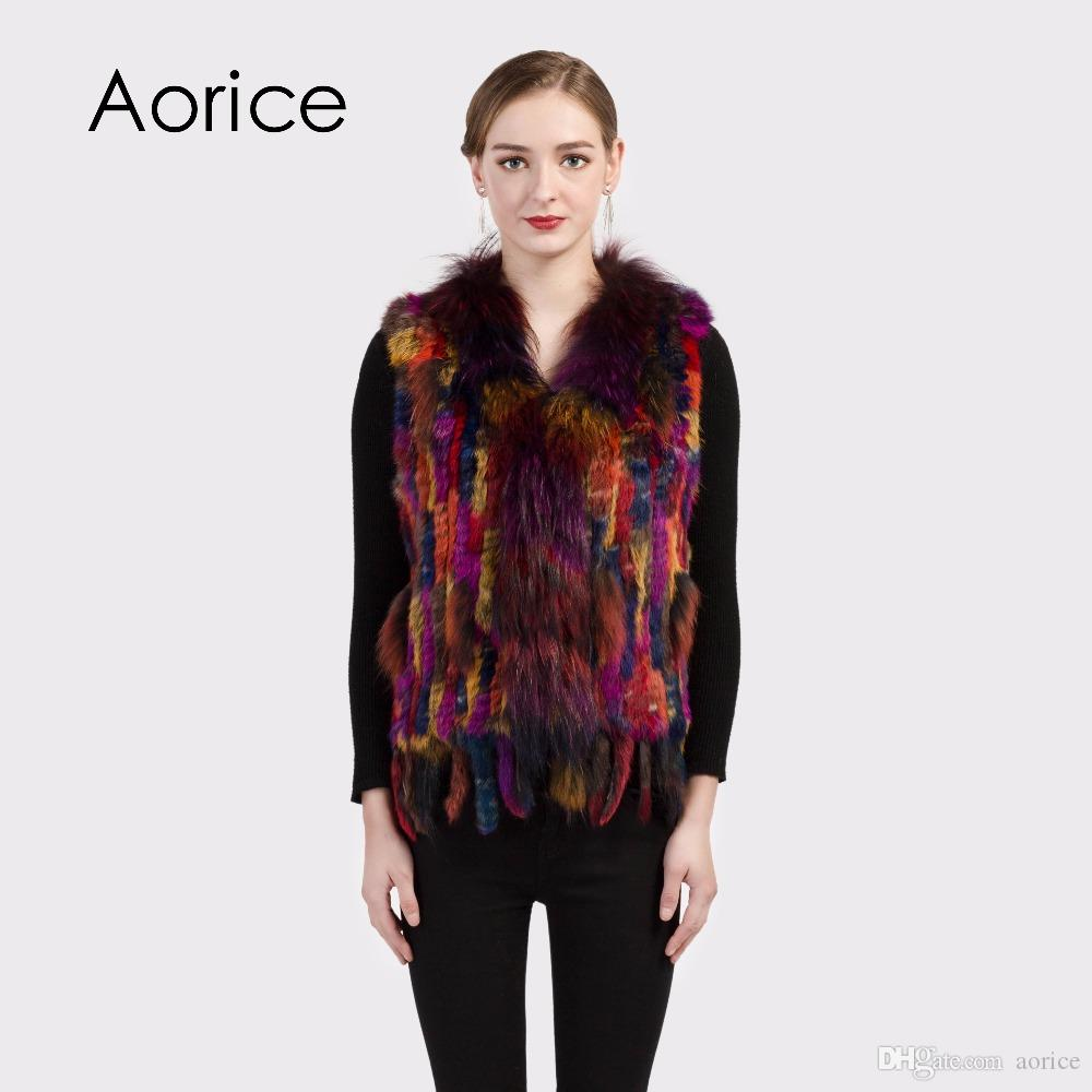 9c44e0137d9 2019 Pudi VR038 2 New Colour Real Rabbit Knitted Fur Vest With ...