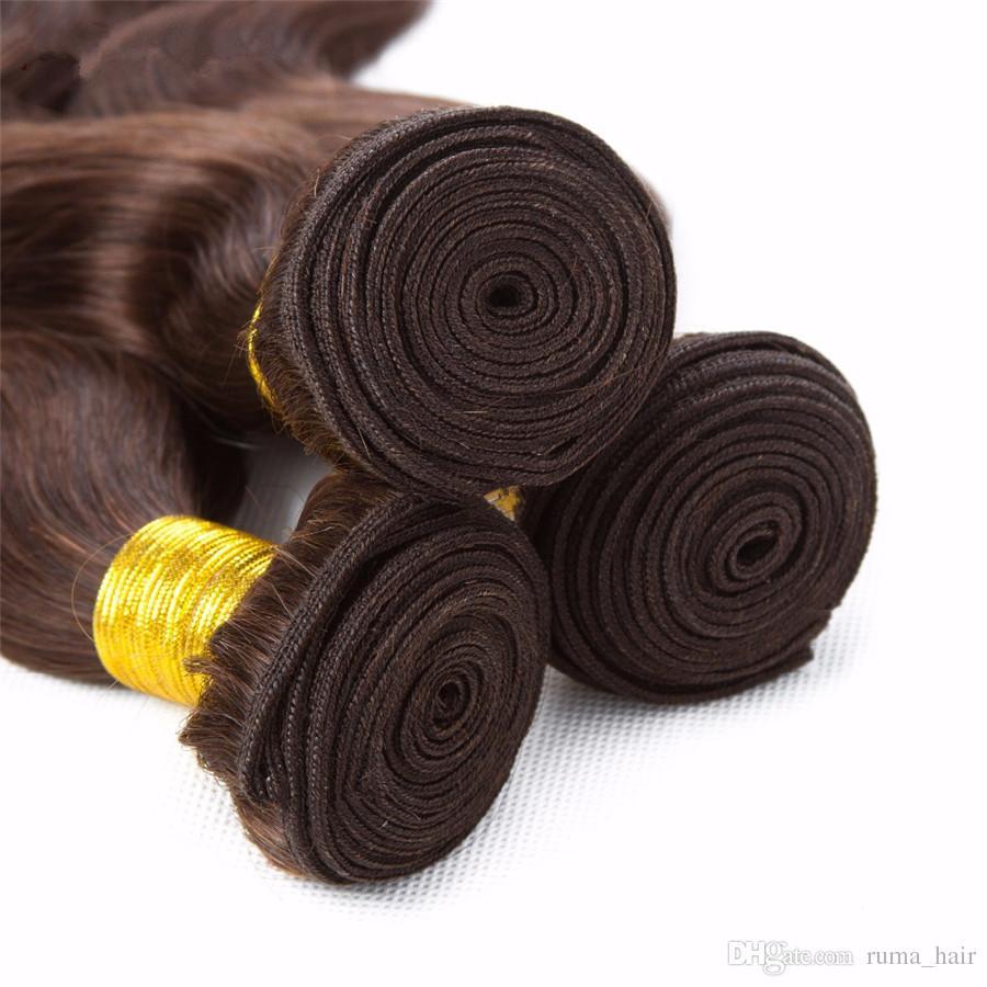 갈색 머리 번들 컬러 # 4 초콜릿 중간 브라운 바디 웨이브 인간의 머리로 무료 부 레이스 폐쇄는 4 * 4 위로 마감으로 엮어