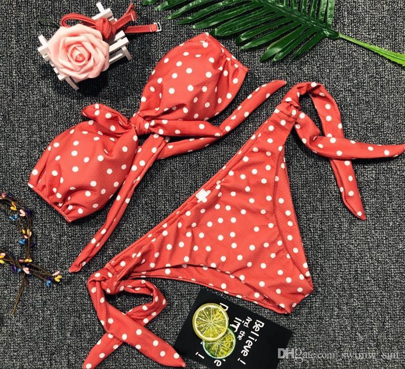Cute Bowknot Bikini 2018 Sexy Bandeau Dots Print Bikinis Newest Swimwear Women Swimsuit Pink Black Brazilian Bikini Set Biquini