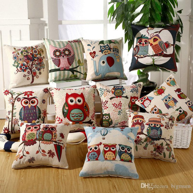 embroidered cute owl animals pillow case cushions for living room rh dhgate com Replacement Cushions for Patio Furniture Replacement Cushions for Outdoor Furniture