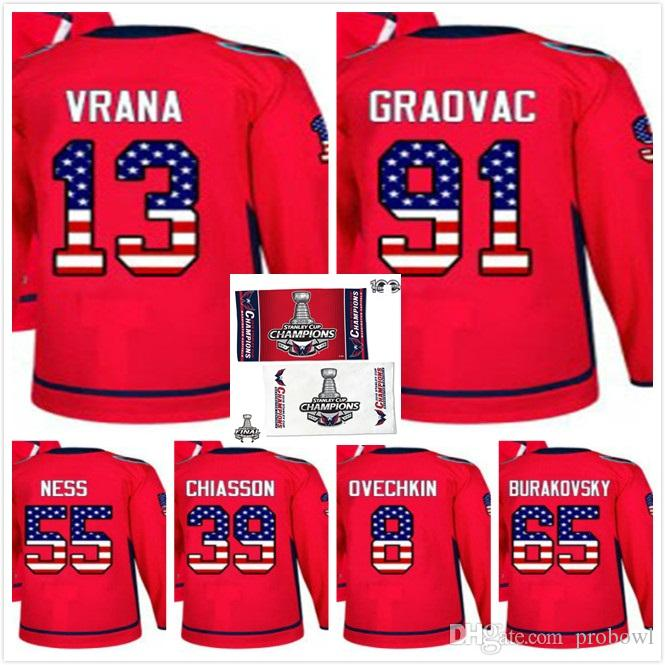 c47c08450 2019 2018 Stanley Cup Final Washington Capitals Champion Hockey Jerseys 91  Graovac Jakub Vrana Aaron Ness Alex Chiasson Alex Ovechkin Burakovsky From  ...