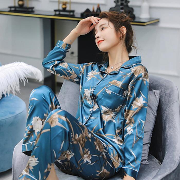 High Quality WAVMIT Long Sleeve Silk Pajamas Set Two Pieces Set Women  Sleepwear Sexy Nightwear for Women Sleepwear Long Pant Pajama Sets Cheap  Pajama Sets ... 0712a3859