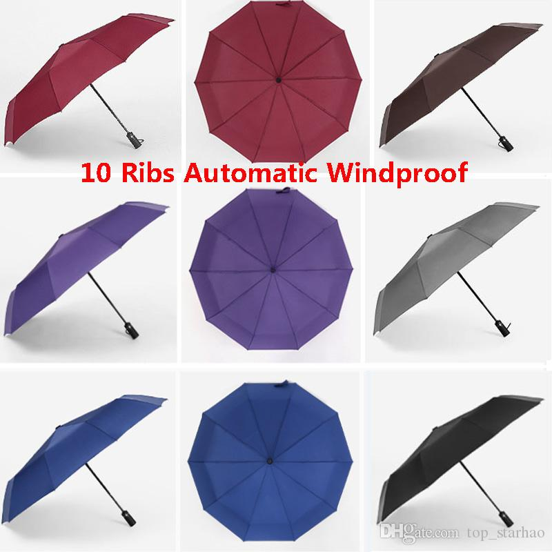 7443fc3c5 New Large Automatic Windproof Rain Umbrella 10 Ribs Compact Folding ...