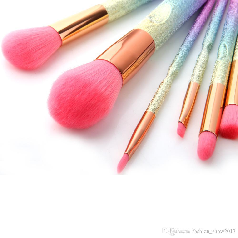 3D Gradient Pink Purple Blue Pro Beauty Tool Makeup Brushes Kits For Blush Bulk Powder Eye Shadow Highlight