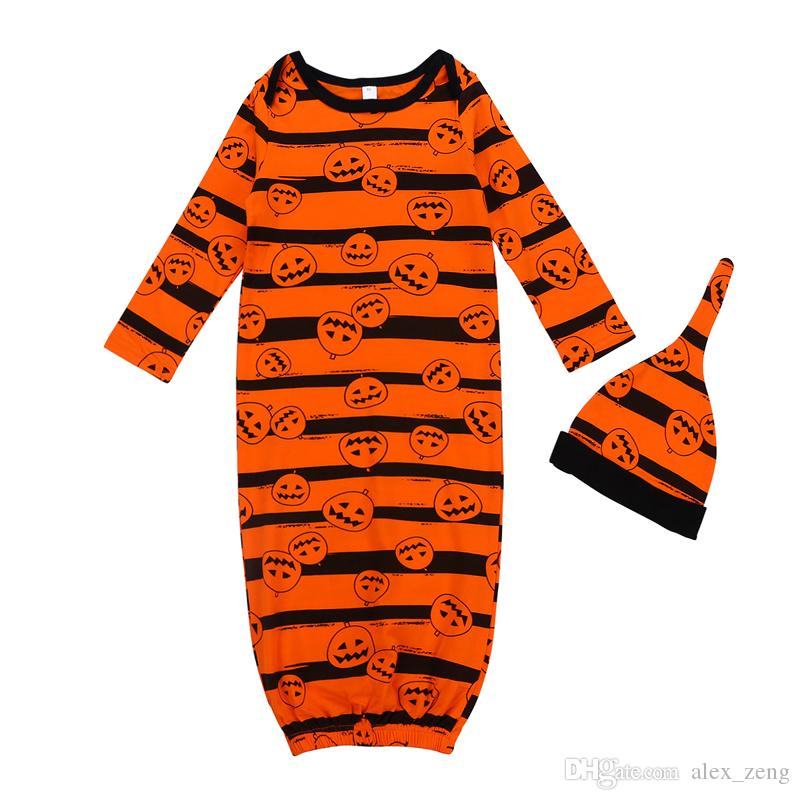 2018 Autumn Swaddling Baby Sleeping Bags Sets Halloween Kids Pumpkin Sleeping bag+hats 2pcs/set Newborn Pumpkin Striped Blanket
