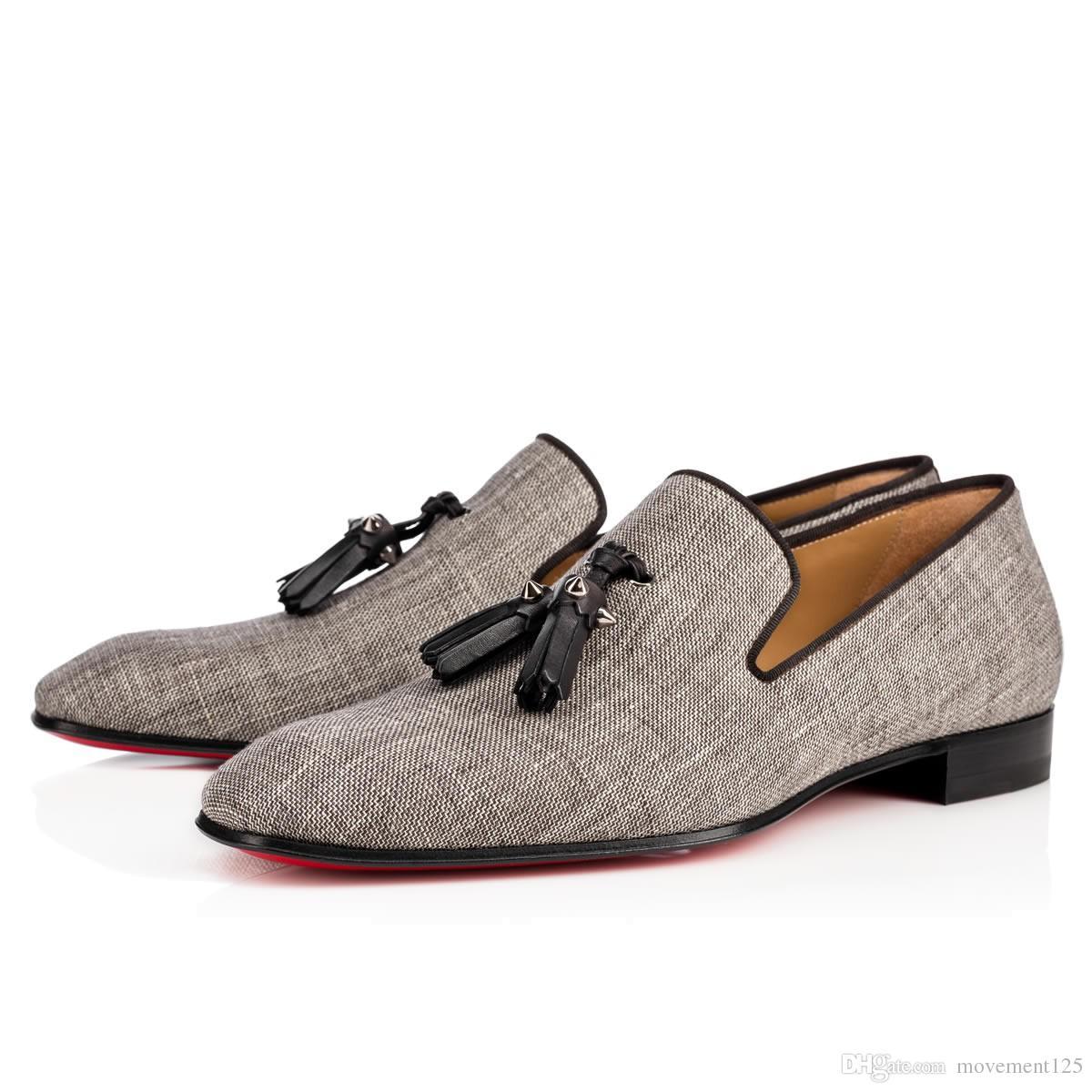 Новая партия свадебное платье Скольжение на бездельников обувь для Man одуванчика кисточкой Sneaker обувь Red Bottom Оксфорд обувь класса люкс для мужчин отдыха Flat