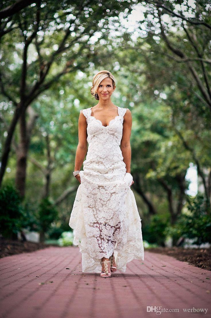 Discount 2018 Full Lace Wedding Dresses Country Style Pluging V Neck ...