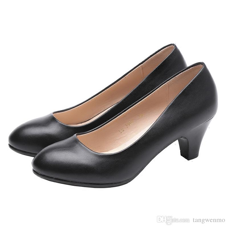 18b6dc0e8b04 Women Shoes Spring High Heels Black Leather Shoes Suit Job Interview Single  Shoe Round Head Thick Heel With Work Shoes Women White Shoes Wholesale Shoes  ...