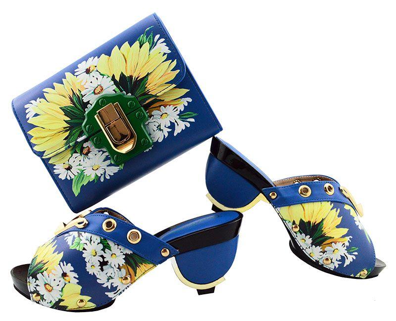Les nouvelles chaussures pourpres dames africaines chaussures africaines correspondent ensemble de sac à main et imprime une fleur pour la robe GL01, talon