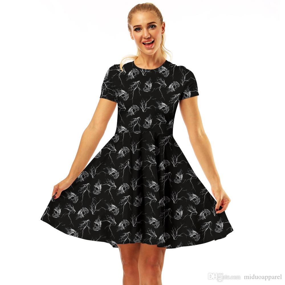32a98d0b186 2019 Home Casual Fashion Lady Women One Piece Dress 3D Skull Style Pattern  Dress Size S XL From Miduoapparel, $28.15   DHgate.Com
