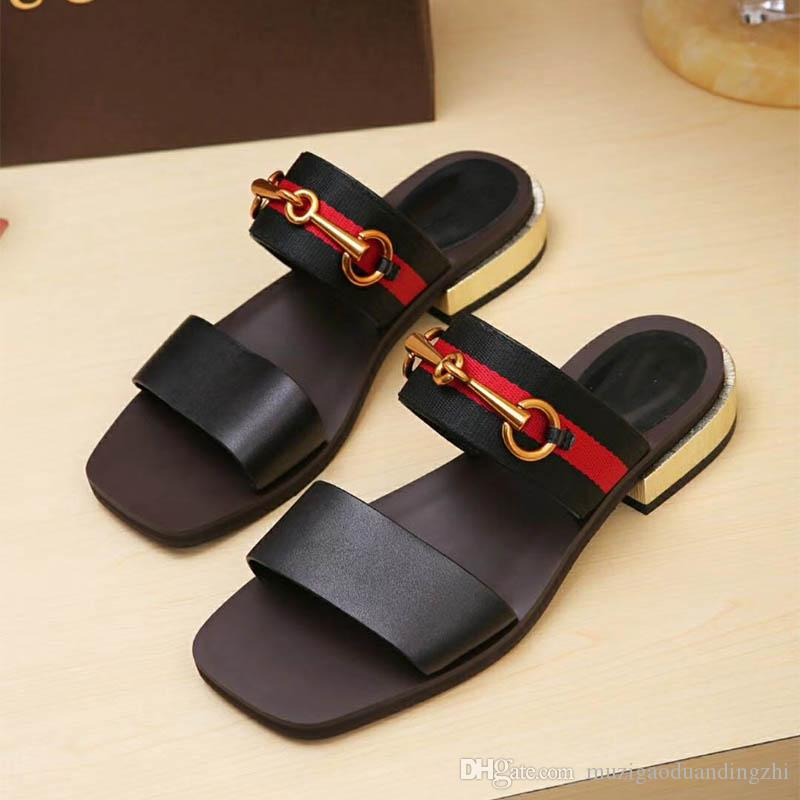 eb5427022a5c15 A67 2018 New Fashion Products Lady s Leather Sandals New European Classic  Luxury Style Ladies Leather Sandals Leather Decor Women s Sandals Flat  Shoes ...