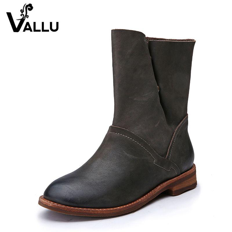 72506449b1c0d 2017 Winter Leder Frauen Stiefel Flache Ferse Kuh Lederknopf Handgemachte  Frauen Schuhe Stiefeletten Plus Größe