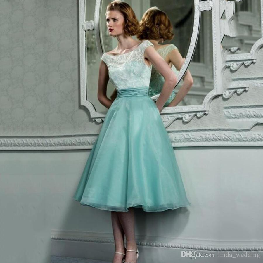 2017 Short Mint Green Bridesmaid Dress Cheap Tea Length Maid Of Honor Dress Wedding Party Gown Plus Size Vestido De Festa De Casamento
