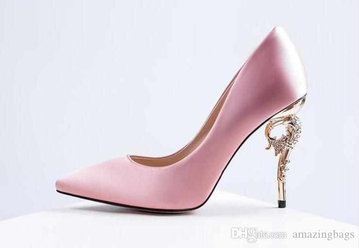 13493a9a08b Pink Red Silk Stiletto Heels Women Single Shoes Metal High Heels Bridal  Wedding Shoes Sexy Pointed Toe Women Pumps Boots Shoes White Mountain Shoes  From ...