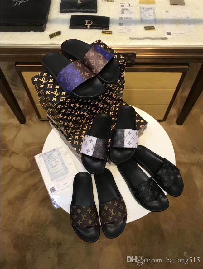 d6915b483b59c7 2018 Men s Sandals Designer Shoes Luxury Slides Summer Fashion Flat ...
