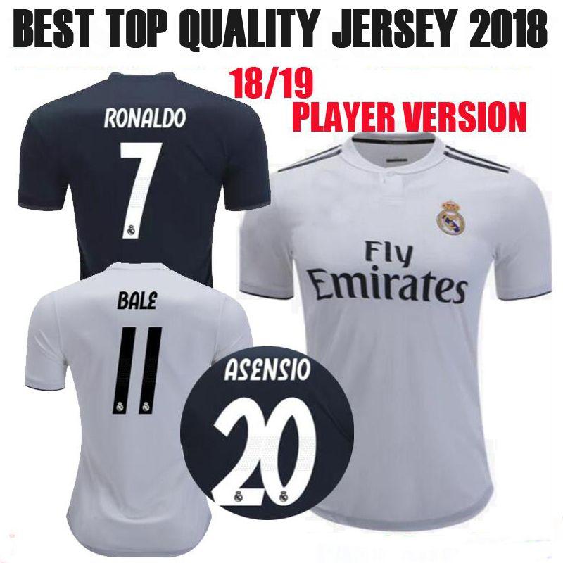 f5b8c3730 2019 2018 2019 Real Madrid RONALDO Player Version Soccer Jersey SERGIO  RAMOS BALE ISCO ASENSIO 18 19 Home Away Customizer Football Shirts.