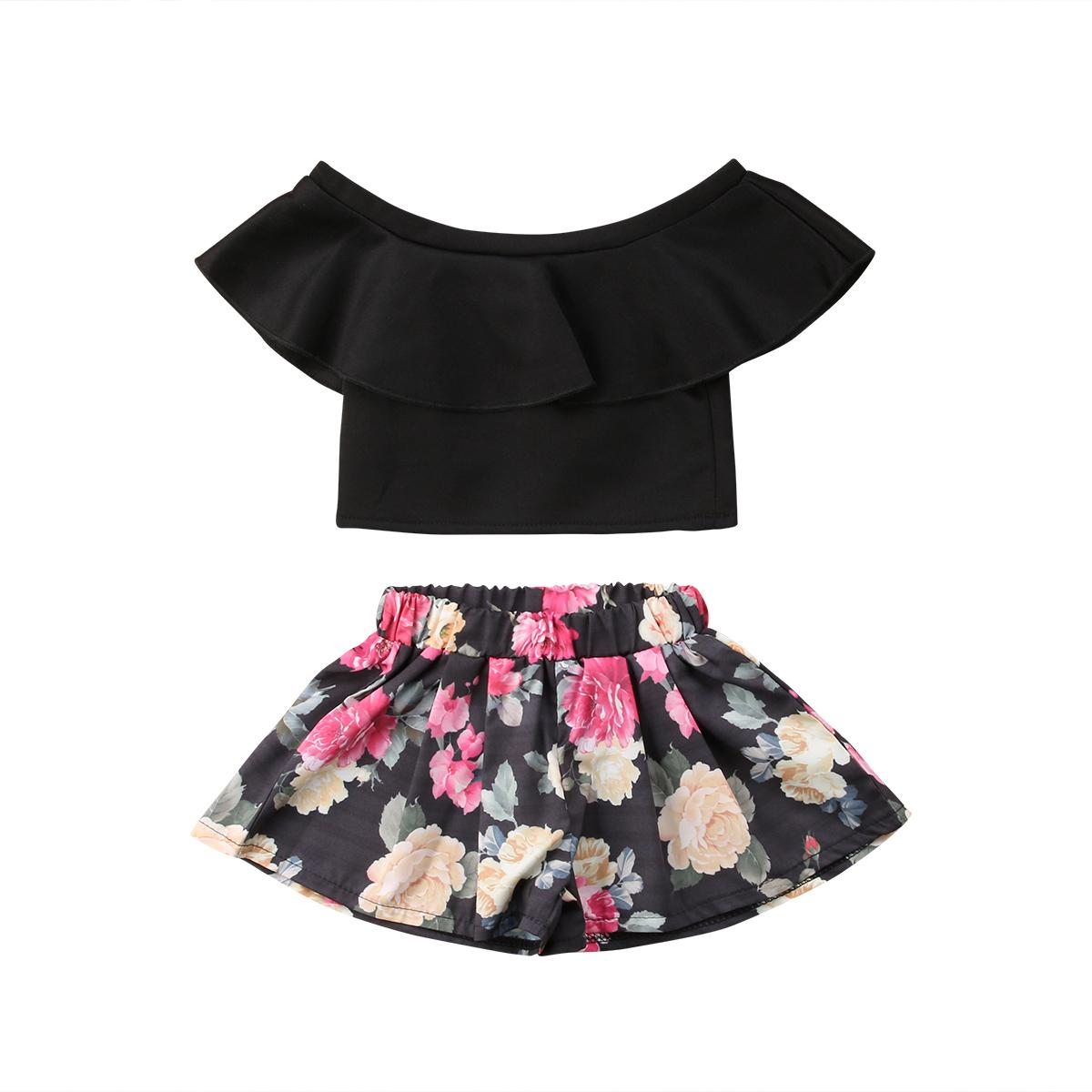 2ebd29202 2019 Cute Toddler Baby Kids Girl Off Shoulder Tops Ruffle Neck Short Sleeve  Floral Shorts Child Cotton Summer Outfits Girl 1 5T From Beasy, $27.68 |  DHgate.