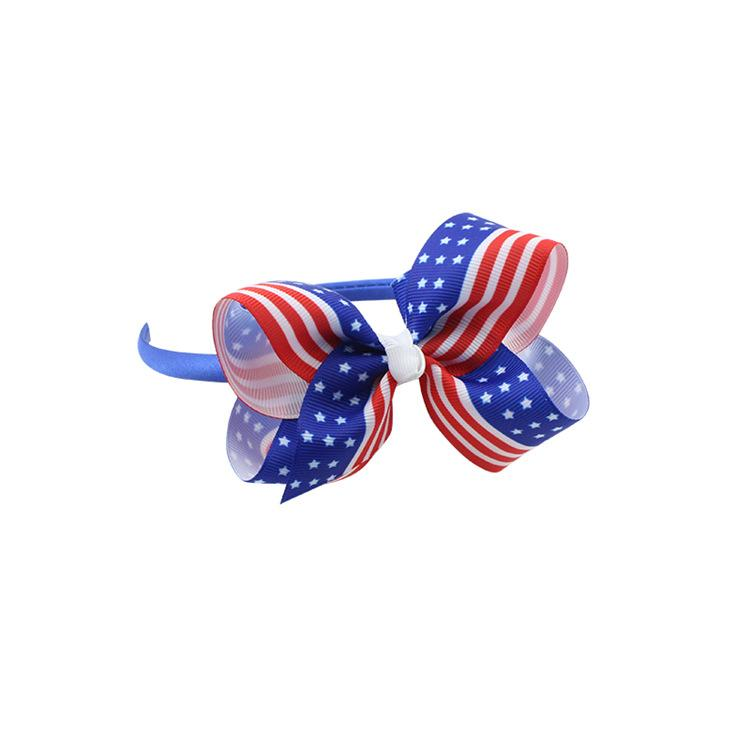 New America Flag Hair Band Accessories Baby Children Hair Bows High quality Fashion National Day Handmade