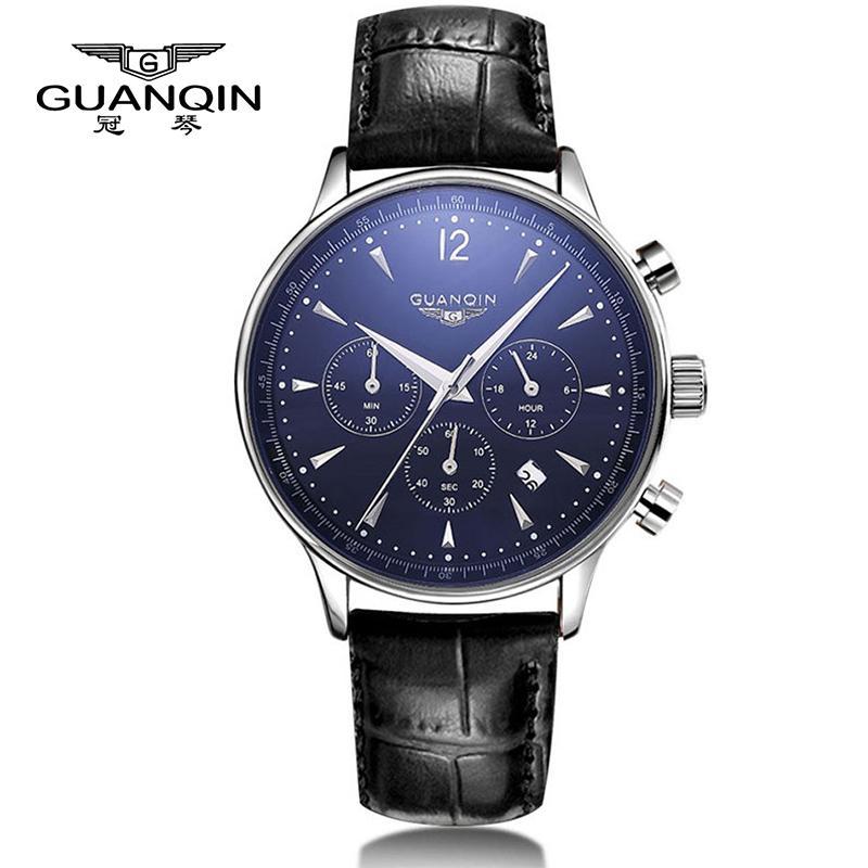 df64160fa4fb Compre Hombres Sport Top Brand Luxury Guanqin Reloj De Cuarzo De Cuero Hombres  De Moda Casual Big Dial Fecha Reloj De Pulsera Impermeable Relojes De  Pulsera ...