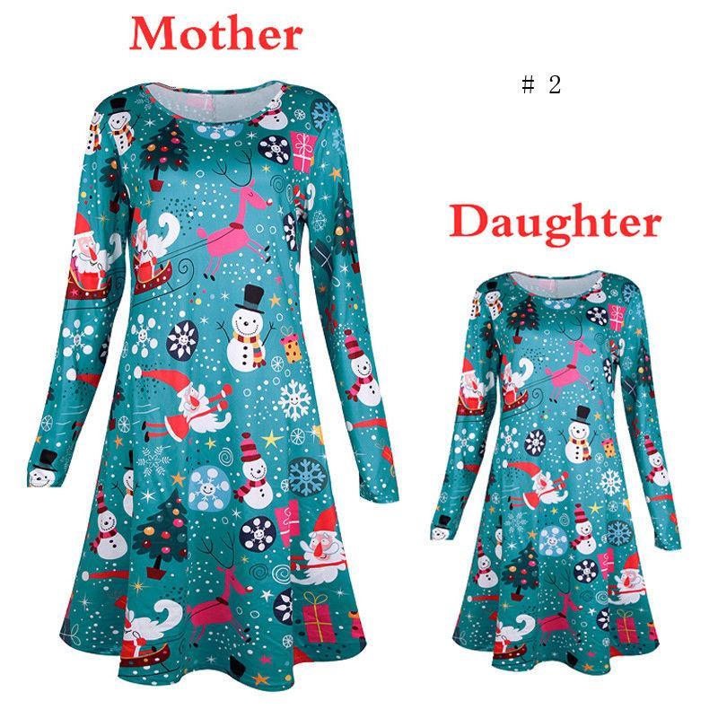 Natal mãe filha vestido de trajes de ano novo para mãe filha 2017 santa manga comprida vestido de natal família roupas combinando