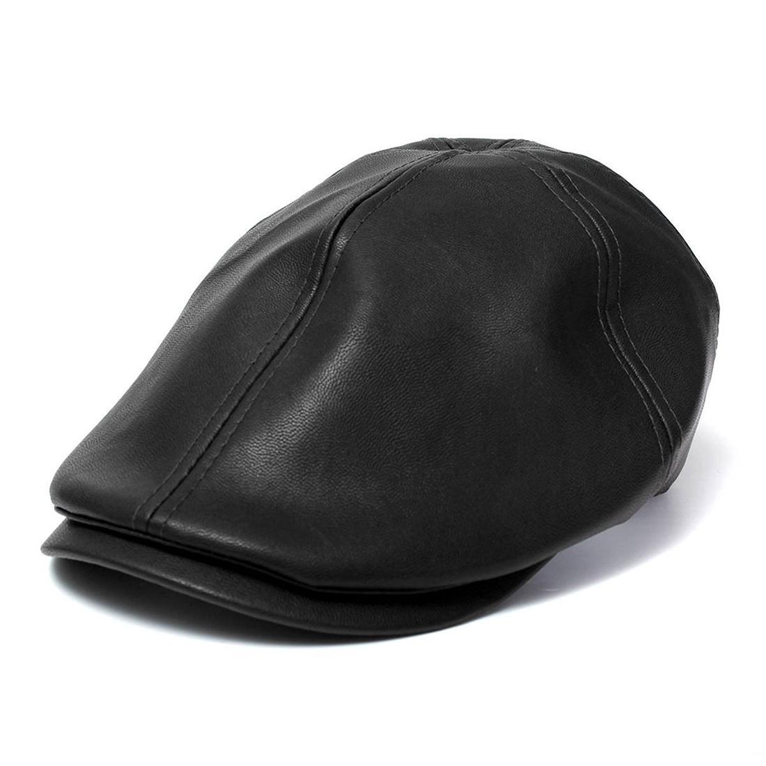 Compre Sombrero De Boina De Hombre Femenino Gorra De Cuero Gorro De  Camionero Unisex Bonnet Negro A  25.45 Del Pickled  2d5eaa38326