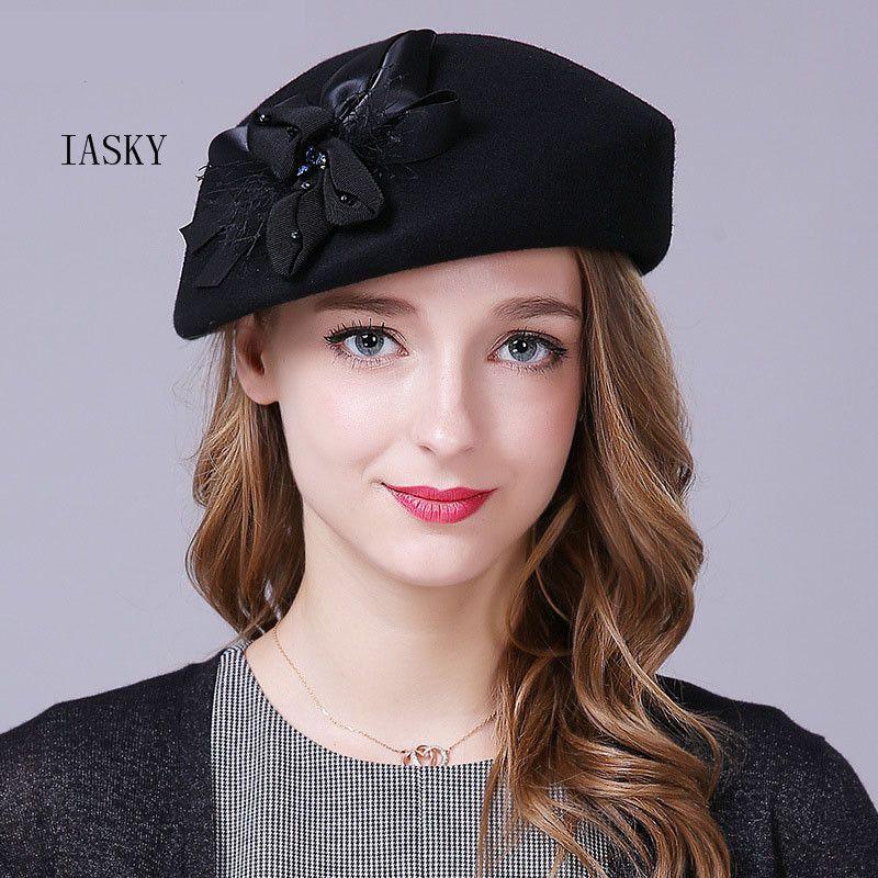Brand Australian Wool Women Beret Hat 2018 Pillbox Bow Flower Fedora Cap  British Elegant Ladies Autumn Winter Red Wedding Hat