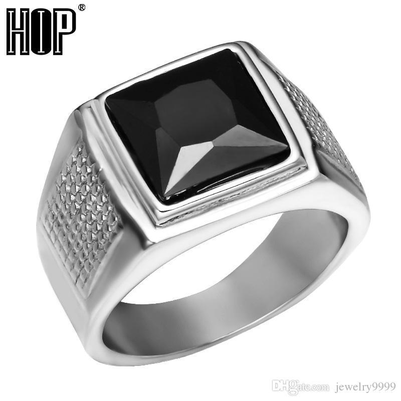 b02f3b87c7fa Anillo de zirconia cúbico negro vintage color plata de acero inoxidable de  titanio anillos de sello para hombres joyería punk rock
