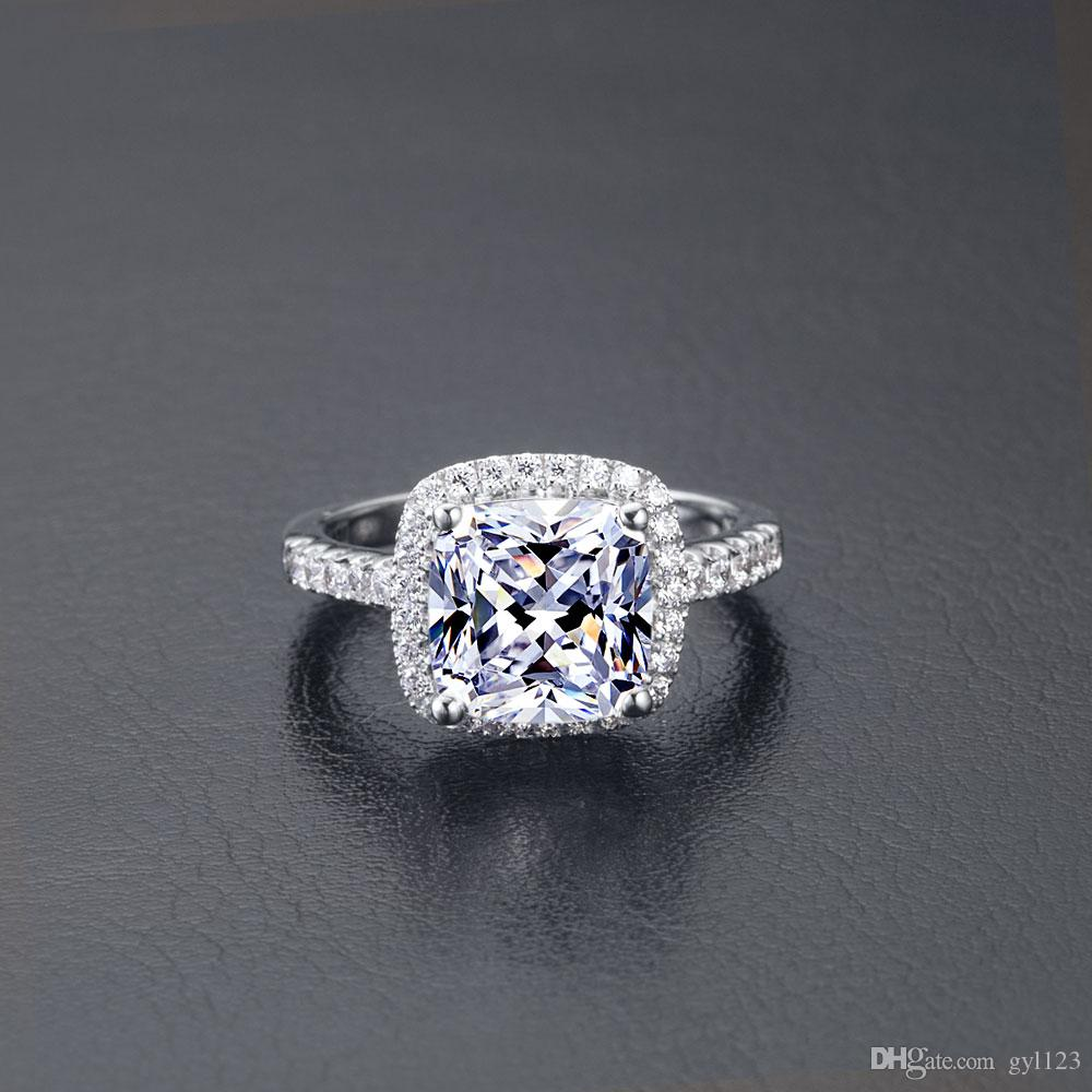 Wholesale Princess Cut Halo Style Cushion Jewelery 1 ct SONA Synthetic Diamond Ring For Women Sterling Silver Jewelry Fine Drop Shipping