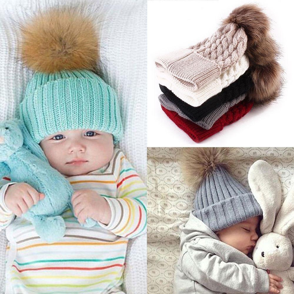 Pu Ran/® Newborn Baby Girls Boys Cute Knitted Bobble Hat Warm Soft Pom-Pom Cap