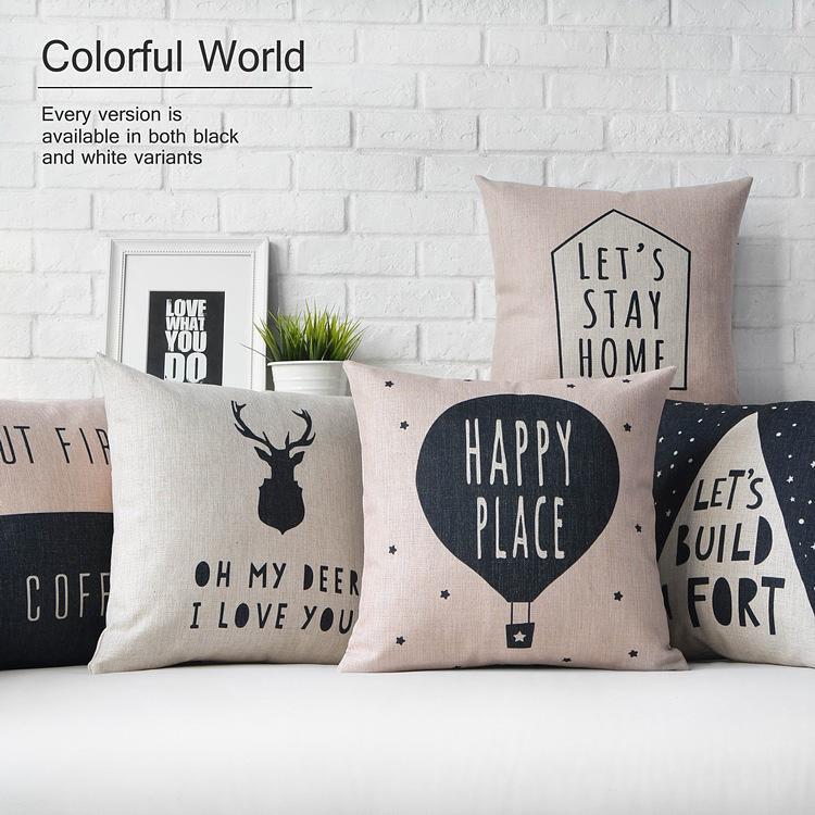 Nordic Modern Decorative Sofa Pillows ,Black White Geometric Pillow ,Linen  Deer Cushions Pillowcase Sofa Decorative -Pillows