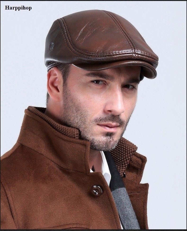 3868aa1a Sombrero de cuero para hombre de invierno Boinas de invierno para hombre  Cálido gorro de protección auditiva 100% cuero genuino sombrero de papá ...