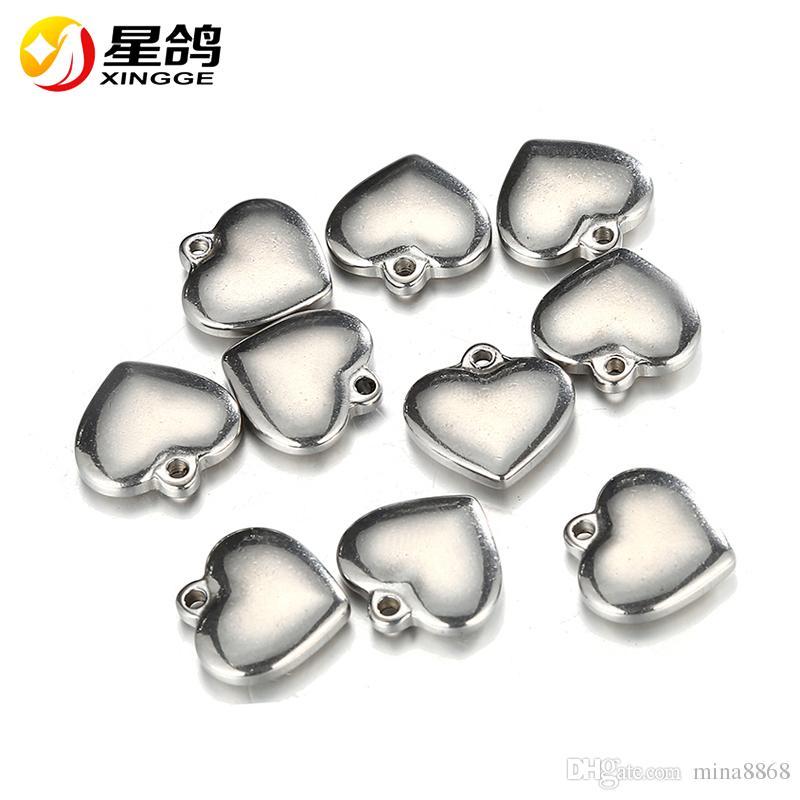 16 * 16mm de aço inoxidável Pequeno Coração Charme para Jóias DIY Pingente Coração Jóias Fazendo Descobertas Peças buraco por atacado 2mm