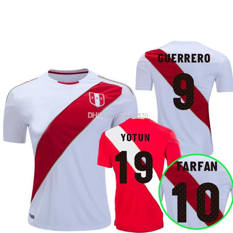 4adc8515769 Peru Soccer Jersey 2018 World Cup 9 GUERRERO 10 FARFAN Soccer Shirt 18 7 20  CARRILLO HURTADO FLORES Home White away red Football Jersey
